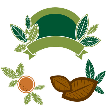 set of food design elements with leafs for package design Stock Vector - 7165478