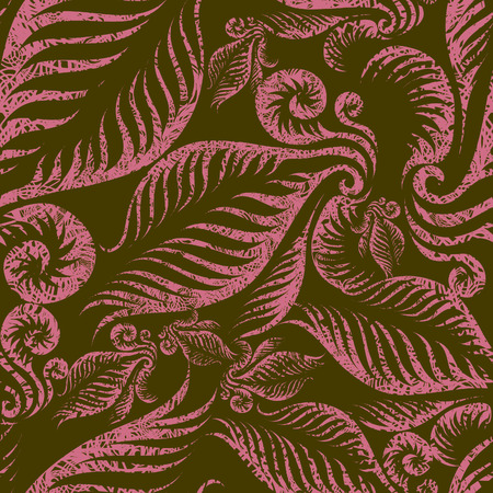 Seamless beige grunge floral pattern with fern leafs (from my BIG  Vector