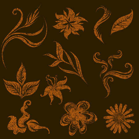 set of grunge leafs and flower design elements  Vector