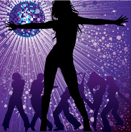 gleam:  background with people dancing in night-club, disco-ball and glitters