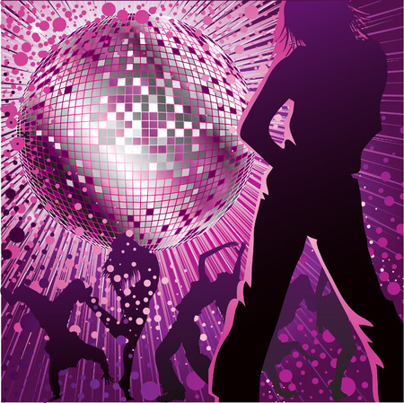 mirrorball: background with people dancing in night-club, disco-ball and glitters Illustration