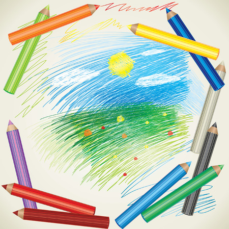 colorful background with drawing of summer landscape and color pencils