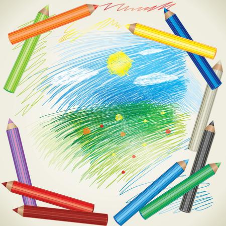 creare: sfondo colorato con disegno di matite di paesaggio e colore estate  Vettoriali