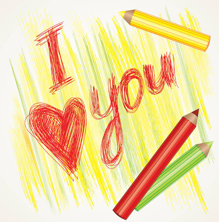 colorful background with sign &quot,I love you&quot, and color pencils Vector