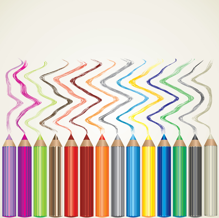 background with set of color pencils and lines Vector