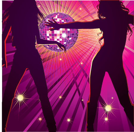 mirrorball: background with two girls dancing in night-club, disco-ball and glitters