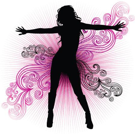 modern dance: girl dancing in night-club with flash