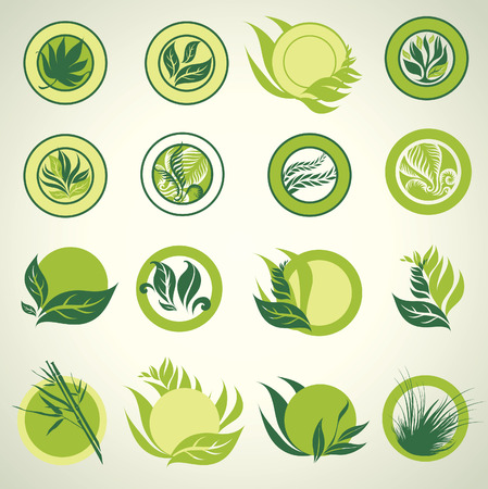 Signs with green leafs which show idea of ecology, naturality and freshness. Can be used for package design Vector