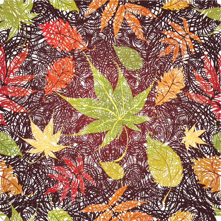 grunge Seamless Background with colorful Autumn Leaves. Thanksgiving (from my big Stock Vector - 7406472