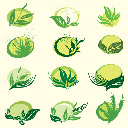 benign: Set of signs with green leafs 2 - which show idea of ecology, naturality and freshness. Can be used for package design
