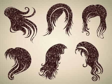 Big  set of grunge vintage hair styling for woman (from my big Stock Vector - 7452281
