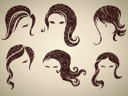 Big set of grunge vintage hair styling for woman (from my big  Vector