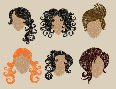 Big   set of grunge hair styling (from my big Stock Vector - 7452284