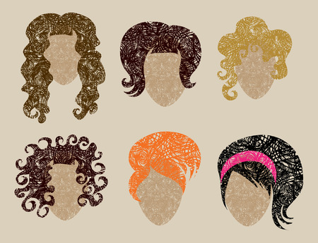 girl short hair: Big  set of grunge hair styling (from my big  Illustration