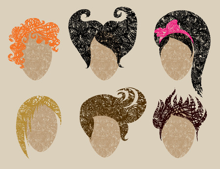 Big  set of grunge hair styling (from my big Stock Vector - 7452277