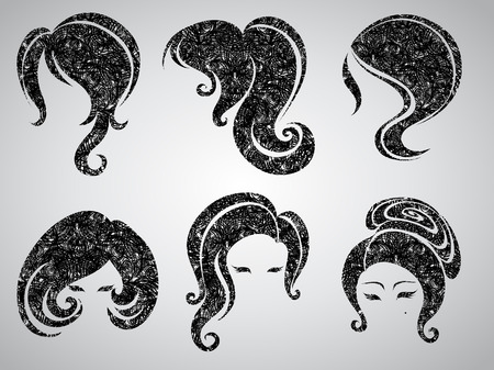 hair setting: Big  set of grunge vintage hair styling for woman (from my big  Illustration