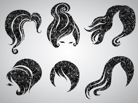 Big set of grunge vintage hair styling for woman (from my big Stock Vector - 7452260