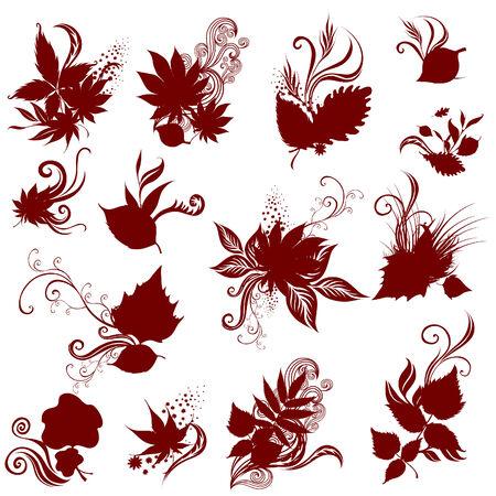 shadowgraph: set of silhouette - autumn leafs design elements. Thanksgiving Illustration