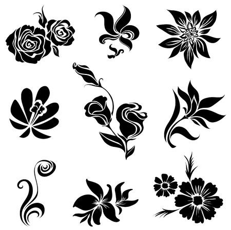 brie: Verzameling van zwarte bloem ontwerp elementen Stock Illustratie