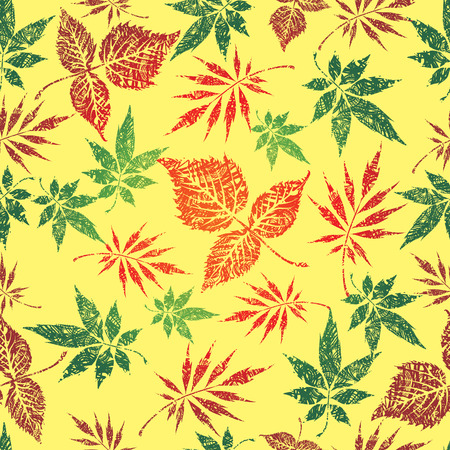 Seamless grunge leaves background.   Vector