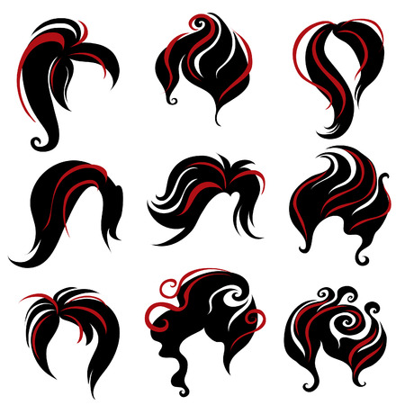 Big set of black hair styling for woman (from my big Stock Vector - 7602078