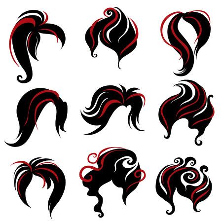 femme dressing: Grand ensemble de cheveux noirs, style pour la femme (de mon grand  Illustration