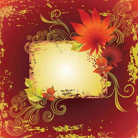 marco de grunge con colorido otoño veraniegos. Acción de gracias (de mi gran  Ilustración de vector