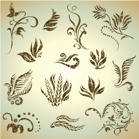 set of grunge leafs and flower design elements (from my big Stock Vector - 7621392