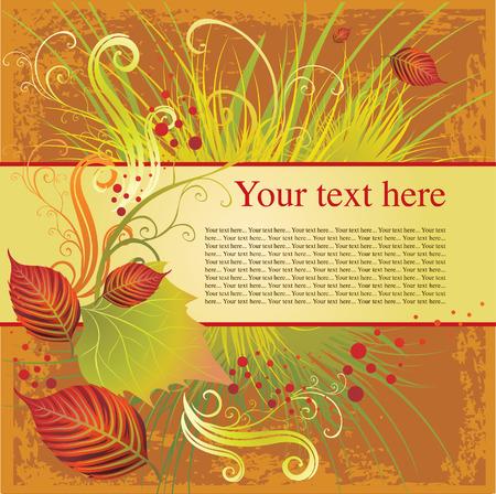 accion de gracias: marco con colorido oto�o veraniegos. Acci�n de gracias (de mi gran  Vectores