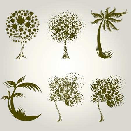 set of designs with decorative tree from leafs. Thanksgiving Vector