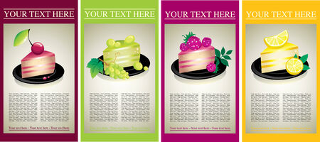 gelatin: Set of design samples with delicious cheese cakes with fruits and berries Illustration