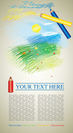 flysheet:  design sample with colorful childish picture of summer landscape and color pencils  Illustration