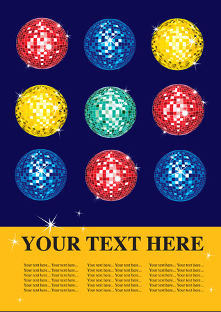 mirrorball: design sample with multicolor shining discoballs Illustration