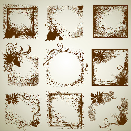 set of vintage grunge frames with Autumn Leafs. Thanksgiving (from my big  Illustration