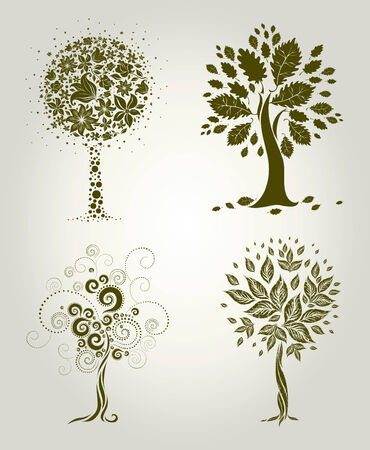set of designs with decorative tree from leafs. Thanksgiving Illustration