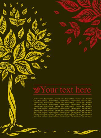 sample of design with decorative tree from colorful autumn leafs and place for text. Thanksgiving