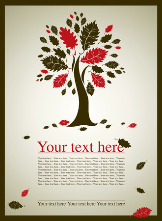 lands: sample of design with decorative oak tree from colorful autumn leafs and place for text. Thanksgiving Illustration