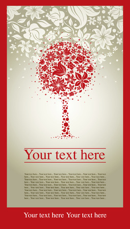 sample of design with decorative tree from colorful autumn leafs and place for text. Thanksgiving Vector