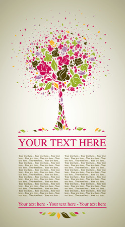 autumn leafs: sample of design with decorative tree from colorful autumn leafs and place for text. Thanksgiving