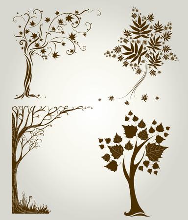 albero stilizzato: set 3 dei disegni con albero decorativo da foglie. Thanksgiving Vettoriali