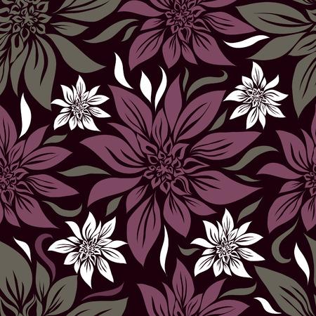 (から私の大きなリリーとシームレスなビンテージ花柄  イラスト・ベクター素材