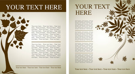 flysheet: Two samples of design with decorative tree from colorful autumn leafs and place for text. Thanksgiving Illustration