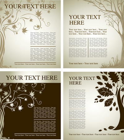 Four samples of design with decorative tree from colorful autumn leafs and place for text. Thanksgiving Illustration