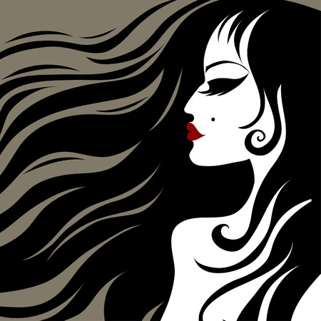 closeup portrait of a girl with beautiful hair  Stock Vector - 7767073