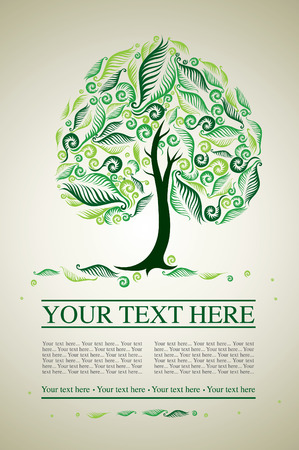sample of design with decorative tree from colorful autumn leafs and place for text. Thanksgiving Stock Vector - 7767148