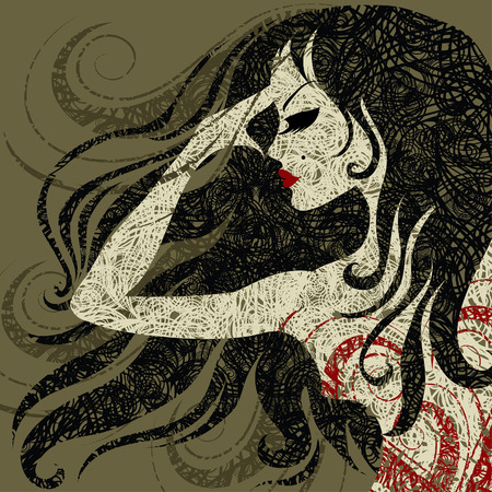 hatchwork: grunge closeup portrait of a girl with beautiful hair in red dress (from my big  Illustration