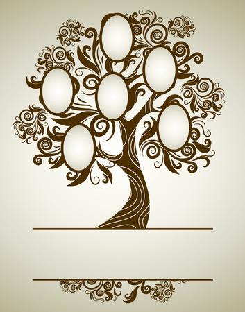 arbol genealógico: diseño del árbol de la familia con marcos y otoño veraniegos. Colocar texto.  Vectores