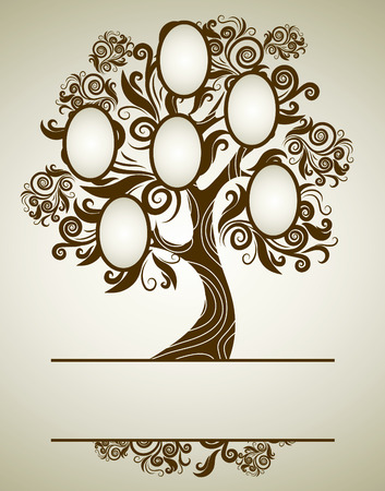 family tree design with frames and autumn leafs. Place for text.  Vector