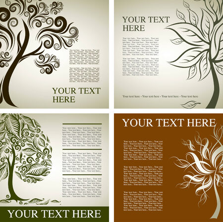 flysheet: Four samples of design with decorative tree from colorful autumn leafs and place for text. Thanksgiving Illustration