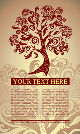 flysheet: sample of design with decorative tree from colorful autumn leafs and place for text. Thanksgiving